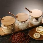 3 in 1 Original Wood Bamboo Cover Glass Seasoning Jar Seasoning Box Set Creative Seasoning Bottle