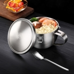 Stainless Steel Double Instant Noodle Bowl Household Rice Bowl with Lid & Spoon