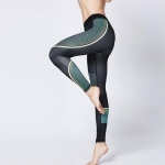 Sports Fitness Printed Slim Trousers Yoga Pants (Color:Streamer Black Size:S)