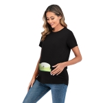 Short Sleeve Large Maternity T-Shirt (Color:Black Size:L)