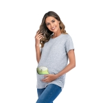 Short Sleeve Large Maternity T-Shirt (Color:Light Grey Size:L)