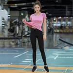 2 in 1 Solid Color Short Sleeve T-Shirt + Two-color Render Trousers Quick-drying Sportswear Suit for Ladies (Color:Rose Red Size:S)