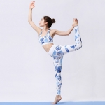 2 in 1 Printed Pattern Bra + Tight-fitting Pants Quick-drying Sportswear Suit for Ladies (Color:Blue Leaf Size:L)