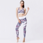 2 in 1 Printed Pattern Bra + Tight-fitting Pants Quick-drying Sportswear Suit for Ladies (Color:Purple Flower Size:S)