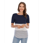 Up And Down Cross Color T-shirt (Color:Navy Blue Size:L)