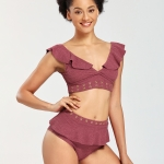 Women Solid Color Snake Texture Bikini Swimsuit (Color:Purplish Red Size:S)