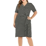 V-neck Short sleeve Slim Plus Size Dress (Color:Strip Size:XL)