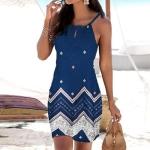 Flower Slim Sleeveless A-line Skirt (Color:Blue Size:S)