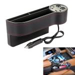 Car Multi-functional Console PU Leather Box Cigarette Lighter Charging Pocket Cup Holder Seat Gap Side Storage Box