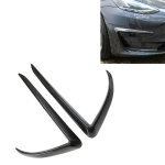 2 PCS Car Lamp Eyebrow Decorative Sticker Fog Lamp Frame for Tesla Model 3(Carbon Fiber Black)