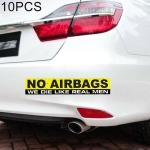 10 PCS Car NO AIRBAGS Words Random Decorative Sticker