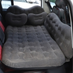 Universal Car Travel Inflatable Mattress Air Bed Camping Back Seat Couch with Head Protector + Wide Side Baffle (Black)