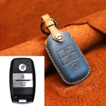 For Kia Old Style Car Cowhide Leather Key Protective Cover Key Case (Blue)