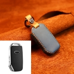 For Kia Car Cowhide Leather Key Protective Cover Key Case, Square Version (Blue)