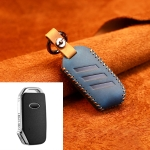 For Kia Car Cowhide Leather Key Protective Cover Key Case, Round Version (Blue)