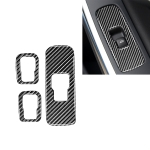 3 PCS Car Carbon Fiber Window Lifting Button Decorative Stickers for Volvo V60 2010-2017 / S60 2010-2018, Left Drive