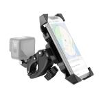 Handlebar Seatpost Pole Mount Bicycle GPS Navigation Handbar Bracket Phone Clamp for GoPro HERO8 /7 /6 /5, Suitable for 4.0-6.5 inch Mobile Phones (Black)