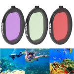 JSR Round Housing Diving 3 in 1 Red + Yellow + Purple Lens Filter for GoPro HERO8 Black