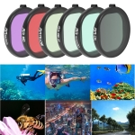 JSR Round Housing Diving 6 in 1 UV + CPL + 16X Macro + Red + Yellow + Purple Lens Filter for GoPro HERO8 Black