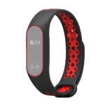 For Xiaomi Mi Band 2 Mijobs Silicone Sports Version Fashion New Anti-lost Two-color Replacement Wristband(Black Red)