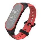For Xiaomi Mi Band 4 / 5 Silicone Two-tone Wristband(Black + Red)
