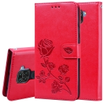 For Xiaomi Redmi Note 9 Rose Embossed Horizontal Flip PU Leather Case with Holder & Card Slots & Wallet(Red)
