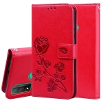 For Huawei P Smart 2020 Rose Embossed Horizontal Flip PU Leather Case with Holder & Card Slots & Wallet(Red)