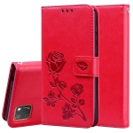 For Huawei Honor 9S Rose Embossed Horizontal Flip PU Leather Case with Holder & Card Slots & Wallet(Red)