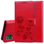 For Huawei Y7P / Honor 9C Rose Embossed Horizontal Flip PU Leather Case with Holder & Card Slots & Wallet(Red)