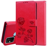 For Huawei Honor 9A Rose Embossed Horizontal Flip PU Leather Case with Holder & Card Slots & Wallet(Red)