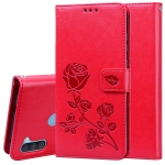 For Samsung Galaxy A11 Rose Embossed Horizontal Flip PU Leather Case with Holder & Card Slots & Wallet(Red)