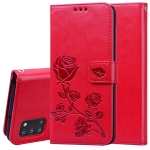 For Samsung Galaxy A31 Rose Embossed Horizontal Flip PU Leather Case with Holder & Card Slots & Wallet(Red)