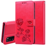 For Samsung Galaxy A41 Rose Embossed Horizontal Flip PU Leather Case with Holder & Card Slots & Wallet(Red)