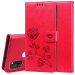 For Samsung Galaxy M30s / M21 Rose Embossed Horizontal Flip PU Leather Case with Holder & Card Slots & Wallet(Red)