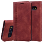 For Samsung Galaxy S10 Frosted Business Magnetic Horizontal Flip PU Leather Case with Holder & Card Slot & Lanyard(Brown)