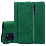 For Samsung Galaxy S20 Ultra Frosted Business Magnetic Horizontal Flip PU Leather Case with Holder & Card Slot & Lanyard(Green)