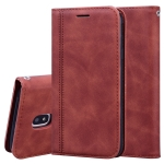 For Samsung Galaxy J3 / J330  (EU)  Frosted Business Magnetic Horizontal Flip PU Leather Case with Holder & Card Slot & Lanyard(Brown)