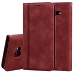 For Samsung Galaxy J4 Plus (2018) Frosted Business Magnetic Horizontal Flip PU Leather Case with Holder & Card Slot & Lanyard(Brown)