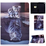 For Lenovo Tab M10 Plus TB-X606F Voltage Painted Pattern Tablet PC Protective Leather Case with Bracket & Card Slots & Sleep / Wake-up & Anti-skid Strip(Cat and Tiger)