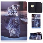 For Samsung Galaxy Tab A 8.0 (2019) T290 / T295 Voltage Painted Pattern Tablet PC Protective Leather Case with Bracket & Card Slots & Anti-skid Strip(Cat and Tiger)