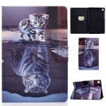 For Samsung Galaxy Tab S6 Lite P610 / P615 Voltage Painted Pattern Tablet PC Protective Leather Case with Bracket & Card Slots & Sleep / Wake-up & Anti-skid Strip(Cat and Tiger)