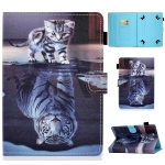 For 7 inch Universal Voltage Painted Pattern Tablet PC Protective Leather Case with Bracket & Card Slots & Pen Slot & Anti-skid Strip(Cat and Tiger)
