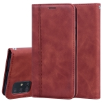 For Samsung Galaxy A51 Frosted Business Magnetic Horizontal Flip PU Leather Case with Holder & Card Slot & Lanyard(Brown)