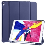 For iPad Pro 10.5 inch / Air 3 10.5 inch 3-folding Horizontal Flip PU Leather + Shockproof TPU Case with Holder & Pen Slot(Dark Blue)