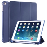 For iPad Air / Air 2 / 9.7 (2017) & (2018) 3-folding Horizontal Flip PU Leather + Shockproof TPU Case with Holder & Pen Slot(Dark Blue)