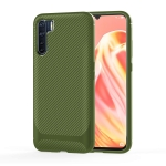 For OPPO A91 / F15 / Reno3 Carbon Fiber Texture Shockproof TPU Protective Case(Green)