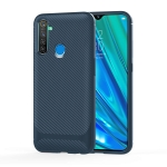 For OPPO Realme Q(China Version) Carbon Fiber Texture Shockproof TPU Protective Case(Blue)