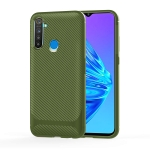 For OPPO Realme 5s Carbon Fiber Texture Shockproof TPU Protective Case(Green)