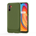 For OPPO Realme C3 Carbon Fiber Texture Shockproof TPU Protective Case(Green)