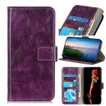 For Motorola Moto Edge Retro Crazy Horse Texture Horizontal Flip Leather Case with Holder & Card Slots & Photo Frame & Wallet(Purple)